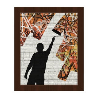 Orange Graffiti Roller Framed Canvas Wall Art