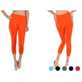 Women's Solid Polyester Blend Capri Length Stretch Leggings (5-Pack)