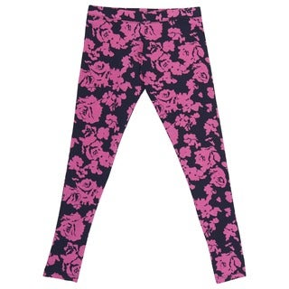 French Toast Girl's Black and Pink Cotton/Spandex Rose Print Leggings