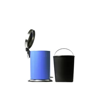 Blue Stainless Steel 7-liter Round Step Trash Can