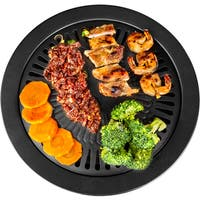 Black/Grey Carbon Steel Smokeless Indoor Stovetop Grill