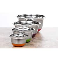 Stainless Steel Nonskid Silicone Bottoms 4-piece German Mixing Bowls Set