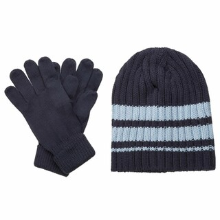 Isotoner Men's Ribbed Knit Hat and Gloves Gift Box Set (Option: Blue)