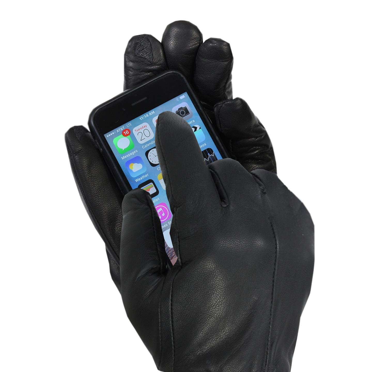 Isotoner Men's Black Leather Dress Gloves with Touchscree...