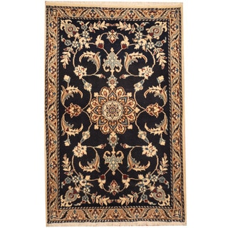 Herat Oriental Persian Hand-knotted Tribal Nain Wool & Silk Rug (2'10 x 4'6)