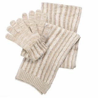 Isotoner Women's Acrylic Knit Gloves and Cable Scarf Gift Box Set
