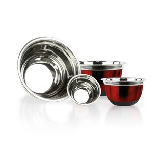 Red Brushed Stainless Steel/Silicone Mixing Bowls (Set of 4)
