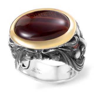 Stephen Webster Silver and Yellow Gold Bull's Eye Stone and Garnet Ring