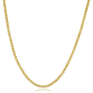 Fremada 14k Yellow Gold Filled 2.5mm Round Wheat Chain Necklace