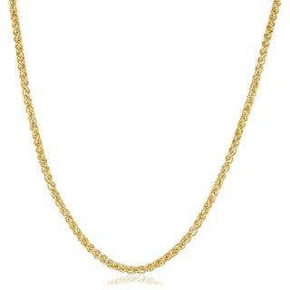 Fremada Yellow Gold Filled 2.5mm Round Wheat Chain Necklace