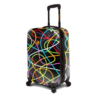 Loudmouth Black Scribblz 22-inch Expandable Hardside Carry-On Spinner Suitcase