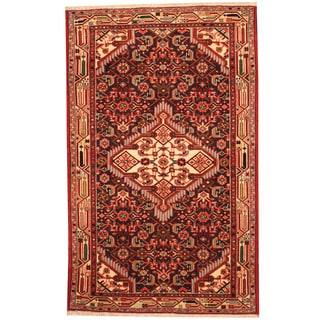 Herat Oriental Persian Hand-knotted Tribal Hamadan Wool Rug (2'6 x 4'1)