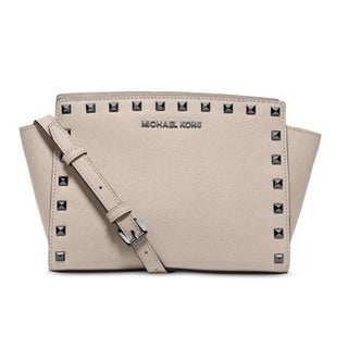 Michael Kors Selma Medium Studded Leather Cement Crossbody Handbag