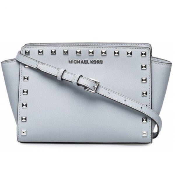 76020cd75791e ... italy michael kors selma medium studded leather dusty blue crossbody  handbag 40a54 6a4c6
