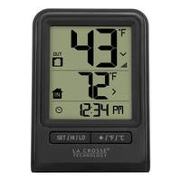 La Crosse Technology 308-1409BT Black Wireless Time and Temperature Station