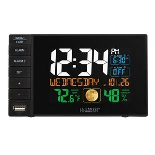 La Crosse Technology C87207 Dual Alarm Clock with USB Charging Port, Black