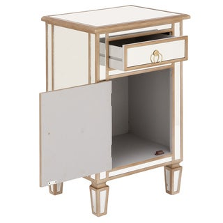 urban designs goldtone mirrored cabinet side table
