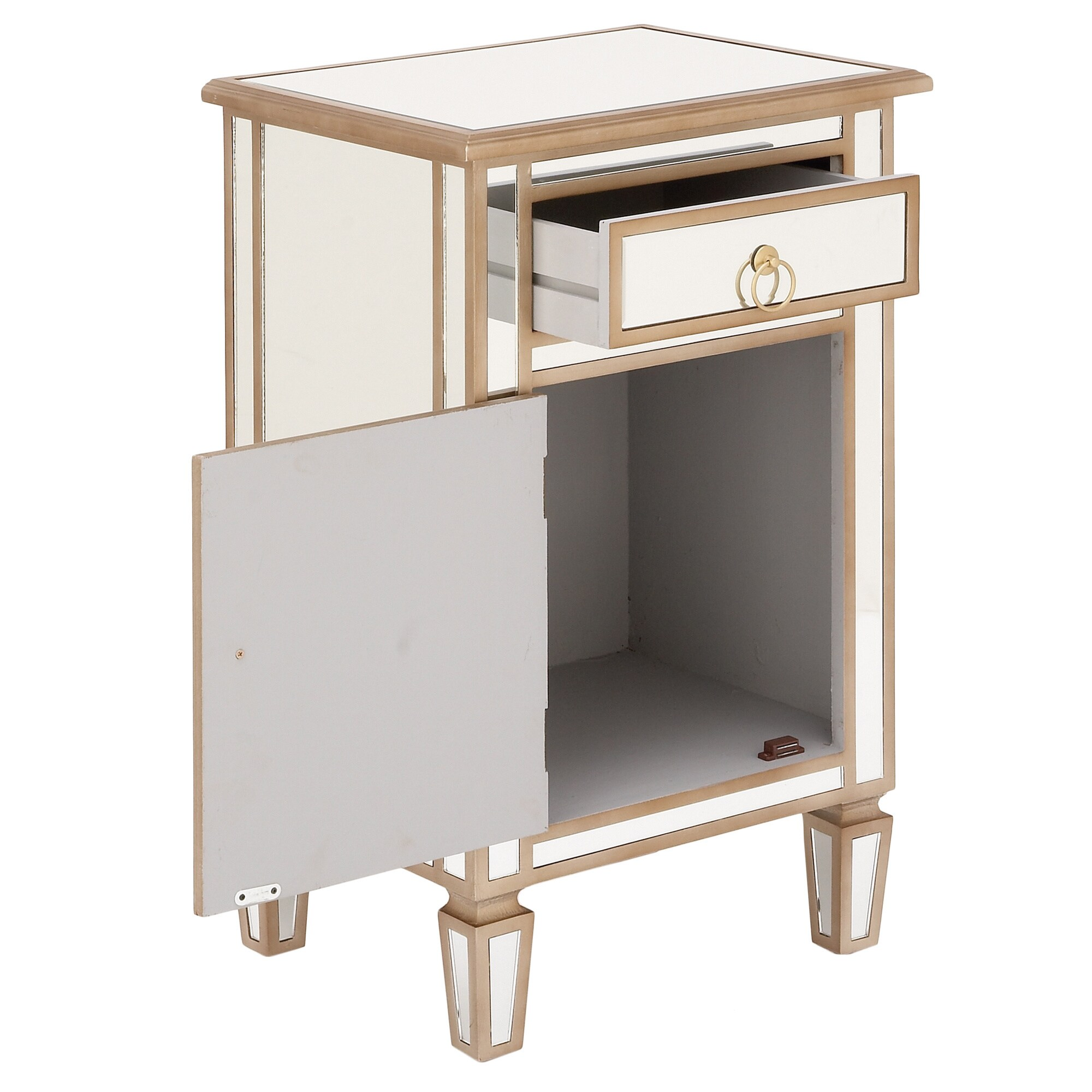 Goldtone Mirrored Cabinet Side Table