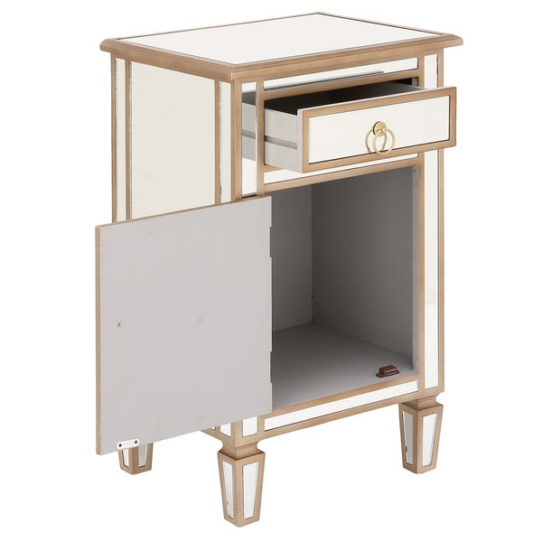 Urban Designs Goldtone Mirrored Cabinet Side Table - Free Shipping ...