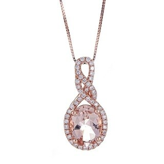 Anika and August 14k Rose Gold Morganite and 1/4ct TDW Diamond Pendant (G-H, I1-I2)