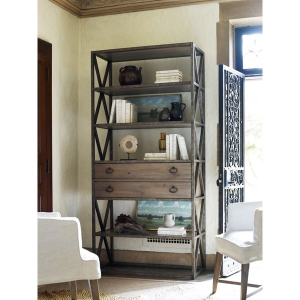 Universal Authenticity Etagere Brown Wood Metal 2 Drawer Bookshelf