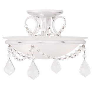 Pennington Chesterfield White Steel and Glass Ceiling Mount Fixture