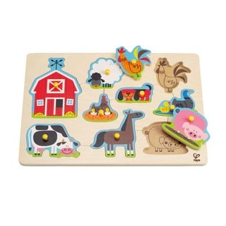 Hape Wood Farm Animals Peg Puzzle