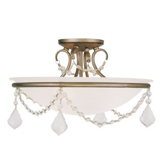 Chesterfield Bronze/White Steel/Glass Ceiling Mount Fixture
