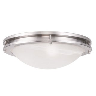 Silvertone/White Brushed Nickel Alabaster Glass Ariel Ceiling Mount