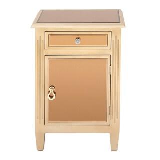 Urban Designs Copper-tone MDF Mirrored Cabinet Side Table