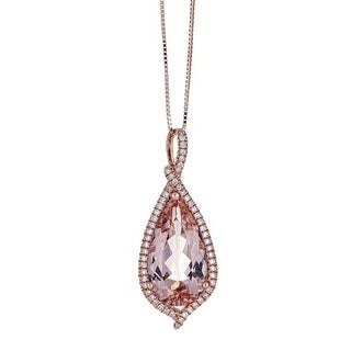 Anika and August 14k Rose Gold Morganite and 1/5ct TDW Diamond Pendant (G-H, I1-I2)