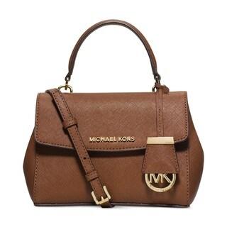 Michael Kors Ava Extra-Small Luggage Brown Saffiano Leather Crossbody Handbag
