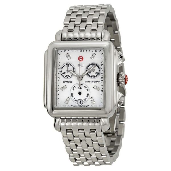 Michele Women S Mww06p000014 Deco Chronograph Diamond Stainless Steel Watch