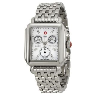 Michele Women's MWW06P000014 'Deco' Chronograph Diamond Stainless Steel Watch