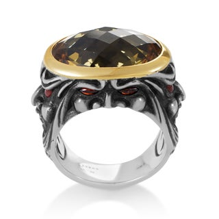 Stephen Webster Sterling Silver and 18k Yellow Gold Beer Quartz and Garnet Gargoyle Ring