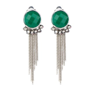 Brass Green Stone Clip on Earrings