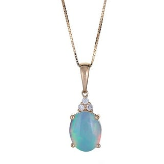 Anika and August 10k Yellow Gold Ethiopian Opal and Diamond Accent Pendant (G-H, I1-I2)