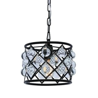 Cassiel Crystal Drum Mini Chandelier, Black
