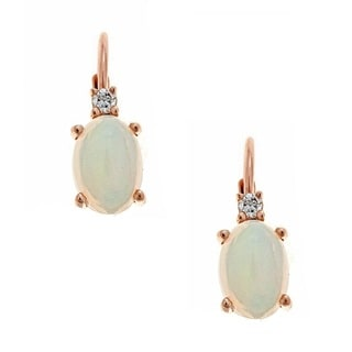 Anika and August 10k Rose Gold Ethiopian Opal and Diamond Accent Earrings (G-H, I1-I2)