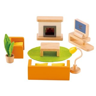 Hape Media Room Wood Dollhouse Furniture Set