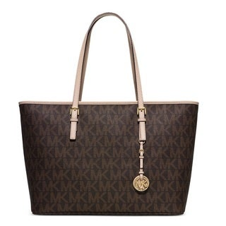 Michael Kors Jet Set Travel Medium Brown Signature Top Zip Multifunction Tote Bag