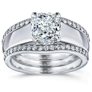 Annello by Kobelli 14k White Gold 1 1/3ct TDW Bridal Set Cushion Diamond Solitaire with Double Diamo