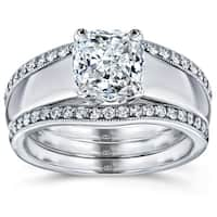 Annello by Kobelli 14k White Gold 1 1/3ct TDW Bridal Set, Cushion Diamond Solitaire with Double Diamond Bands