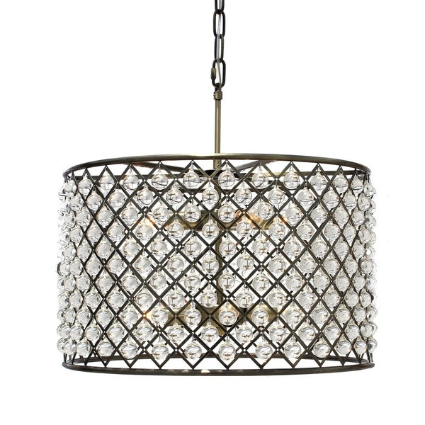 Cassiel Antique Brass Crystal Drum Chandelier - Cassiel Antique Brass Crystal Drum Chandelier - Free Shipping Today