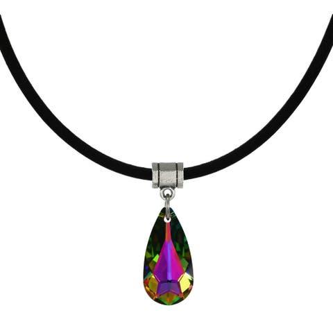 Handmade Jewelry by Dawn Medium Vitrail Crystal Teardrop Leather Cord Necklace (USA)
