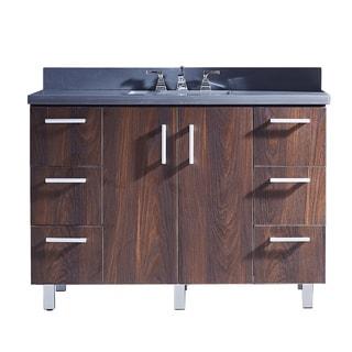 "48"" Bathroom Vanity with Grey Artificial Marble Top in Brown Elm Wood Texture Finish"
