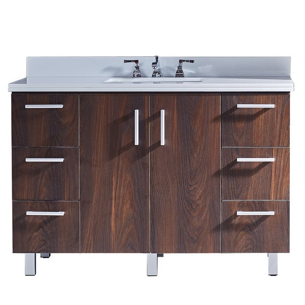 Shop 48 Quot Bathroom Vanity With Phoenix White Artificial Marble Top In Brown Elm Wood Texture