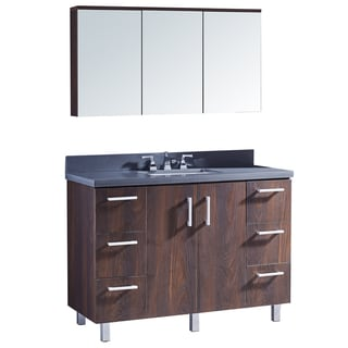 "48"" Bathroom Vanity with Grey Artificial Marble Top in Brown Elm Wood Texture Finish with matching Medicine Cabinet"