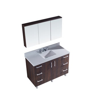 "48"" Bathroom Vanity with Phoenix White Artificial Marble Top in Brown Elm Wood Texture Finish with matching Medicine Cabinet"