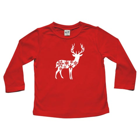 """Rocket Bug Holiday """"Deer with Snowflakes"""" Baby Bodysuit and Toddler T-Shirt"""